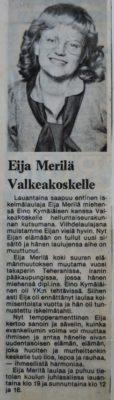 Eija Merilä Valkeakoskella marraskuussa 1979